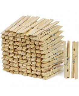 ARADENT™ Pack of 100 Pcs Wooden Clips Bamboo Cloth Pegs for Decoration, Art, Hanging Pictures, Clothes, Photographs, Light Weight Toys, Arts