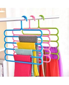 ARADENT™ 5 Layer Pants Clothes Hanger Wardrobe Storage Organizer Rack (Set of 3)