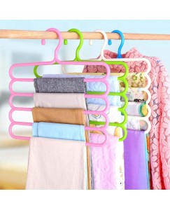 ARADENT™ 5 Layer Pants Clothes Hanger Wardrobe Storage Organizer Rack (Set of 4)