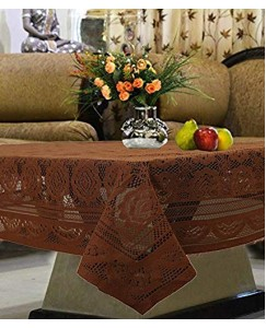 ARADENT™ Floral Cotton Net 4 Seater Table Cover (Size : 40x60 Inches, Color : Brown)