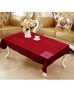 ARADENT™ Floral Cotton Net 4 Seater Table Cover (Size : 40x60 Inches, Color : Red)