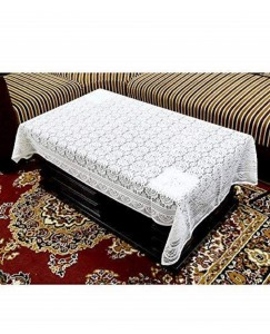ARADENT™ Floral Cotton Net 4 Seater Table Cover (Size : 40x60 Inches, Color : White)