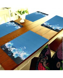 ARADENT™ PVC Dining Table Placemats for 6 Seater Table(45X30cm, Blue) - Set of 6