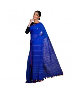 Roots Commerce Blue Ribbon Color Soft cotton with weaving pompom saree