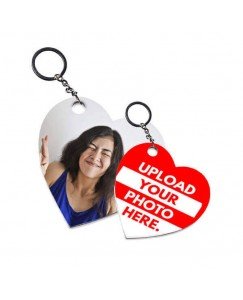 Desirevalley Customized Heart Shape Keychain Double Side