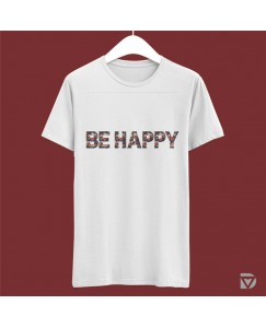 Desirevalley Be Happy Floral Half Sleeve White T-Shirt