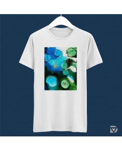 Desirevalley Abstract Ink Painting Half Sleeve White T-Shirt
