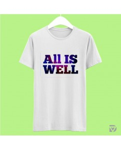 Desirevalley All Is Well Half Sleeve White T-Shirt