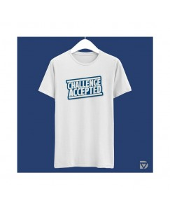 Desirevalley Challenge Accepted Half Sleeve White T-Shirt