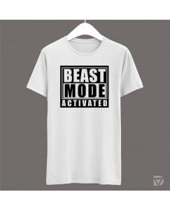 Desirevalley Beast Mode Activated Half Sleeve White T-Shirt