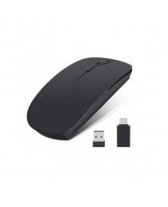 Xbolt Type-C Adapter & Usb Receiver With 2.4G Slim Rechargeable Wireless Optical Mouse With Bluetooth (Black)