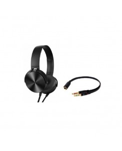 XBOLT extra Bass Wired Headphone with Mic and 2 into 1 stereo jack Wired Headset  (Black, On the Ear)