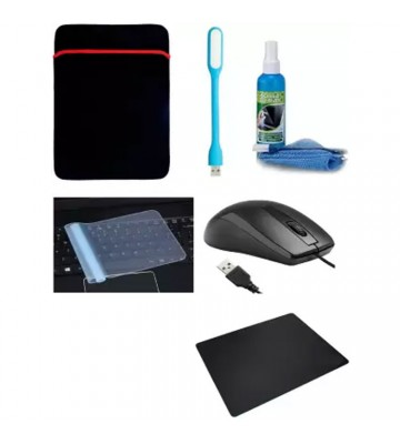 Xbolt 15.6 Inch Sleeve, Keyguard, Usb Light, Wired Mouse And Mouse Pad Accessories Combo For Laptop With Cleaning Kit. Combo Set (Multicolor)