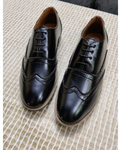 MrBaniye Black Brogue With Two-Ton Hand Finish Full Softy Formal Shoes (Black)
