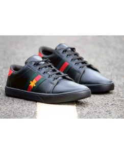 Men's Black Synthetic Sneakers