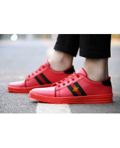 Men's Red Synthetic Sneakers
