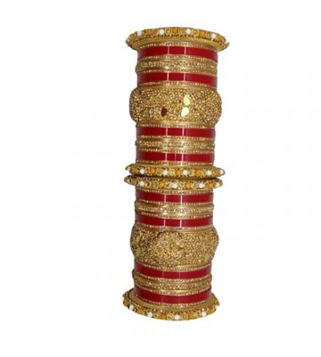 Lucky Bangle Jewellery Traditional Pearl Studded Gold Plated Bangles For Women And Girls