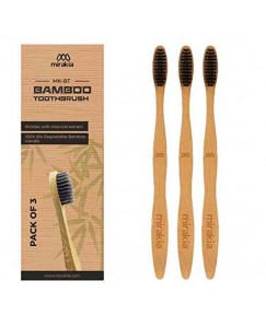 Mirakia Bamboo Toothbrush With Charcoal Infused Bristles Pack Of 3