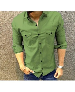 Double Pocket Cargo Shirt For Men's (Green)