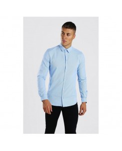 Heavy Drill Solid Shirt For Men's (Ice Blue)
