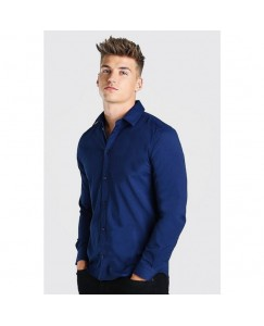 Heavy Drill Solid Shirt For Men's (Navy Blue)