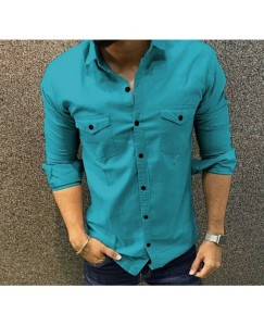 Double Pocket Cargo Shirt For Men's (Azure)