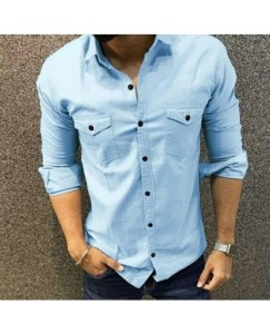 Double Pocket Cargo Shirt For Men's (Ice Blue)