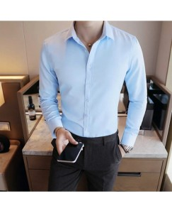 Solid Shirt For Men's (Ice Blue)