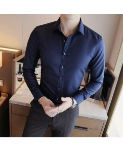 Solid Shirt For Men's (Navy Blue)