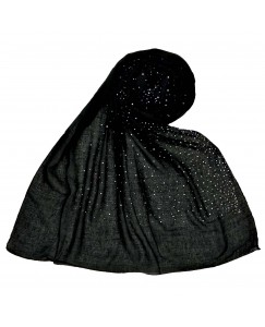 Stole For Women - Due Drop Diamond Studed Cotton Hijab -Black - Size - 75/185 CM