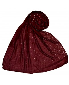 Stole For Women -  Due Drop Diamond Studed Cotton Fabric Hijab -Maroon - Size - 75/185 CM