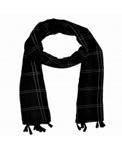 Stole For Women - Box Checkered Cotton Stripe Hijab - Black - Size - 75/185 CM