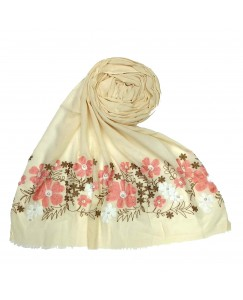 Stole For Women - Cotton Fabric - Emboidered Flower Design Hijab -  White - Size - 75/185 CM
