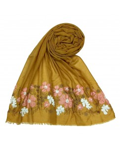 Stole For Women - Cotton Fabric - Emboidered Flower Design Hijab - Yellow - Size - 75/185 CM