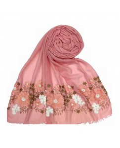 Stole For Women - Cotton Fabric - Emboidered Flower Design Hijab - Pink - Size - 75/185 CM