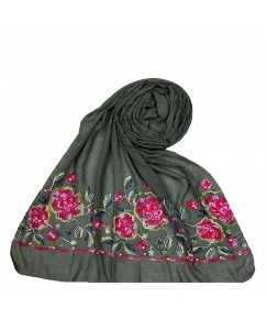 Stole For Women - Cotton Fabric - Emboidered Flower Design Hijab - Grey - Size - 75/185 CM