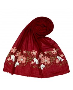 Stole For Women - Cotton Fabric - Emboidered Flower Design Hijab - Maroon - Size - 75/185 CM