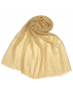 Stole For Women  - Mesh Pleated Crinkle Cotton Stole - Gold - Size - 75/185 CM