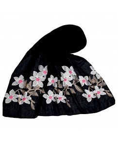 Stole For Women - Hand Work Emboidered Flower Design - Diamond Cotton Hijab - Black - Size - 75/185 CM