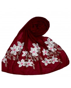 Stole For Women - Hand Work Emboidered Flower Design - Diamond Cotton Hijab - Maroon - Size - 75/185 CM
