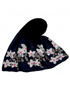 Stole For Women - Hand Work Emboidered Flower Design - Diamond Cotton Hijab - Blue - Size - 75/185 CM