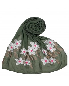 Stole For Women - Hand Work Emboidered Flower Design - Diamond Cotton Hijab - Green - Size - 75/185 CM