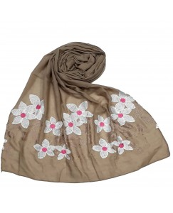 Stole For Women - Hand Work Emboidered Flower Design - Diamond Cotton Hijab - Brown - Size - 75/185 CM