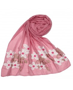 Stole For Women - Hand Work Emboidered Flower Design - Diamond Cotton Hijab - Pink - Size - 75/185 CM