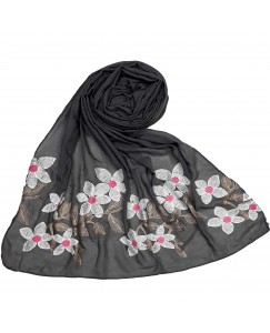 Stole For Women - Hand Work Emboidered Flower Design - Diamond Cotton Hijab - Grey - Size - 75/185 CM