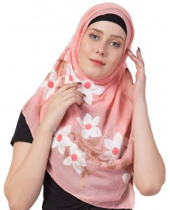 Stole For Women - Hand Work Emboidered Flower Design - Diamond Cotton Hijab -  Orange - Size - 75/185 CM