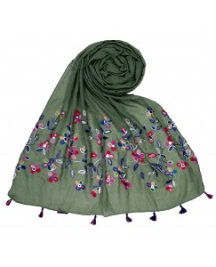 Stole For Women - Fabric - 100 % Cotton Fabric - Hand Work Emboidered Flower Design - Diamond Studed Cotton Hijab -  Green - Size - 75/185 CM