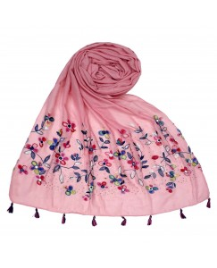 Stole For Women - Fabric - 100 % Cotton Fabric - Hand Work Emboidered Flower Design - Diamond Studed Cotton Hijab -  Pink - Size - 75/185 CM