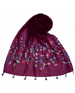 Stole For Women - Fabric - 100 % Cotton Fabric - Hand Work Emboidered Flower Design - Diamond Studed Cotton Hijab -  Purple - Size - 75/185 CM