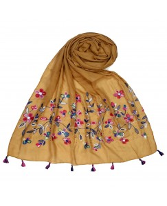 Stole For Women - Fabric - 100 % Cotton Fabric - Hand Work Emboidered Flower Design - Diamond Studed Cotton Hijab -  Yellow - Size - 75/185 CM